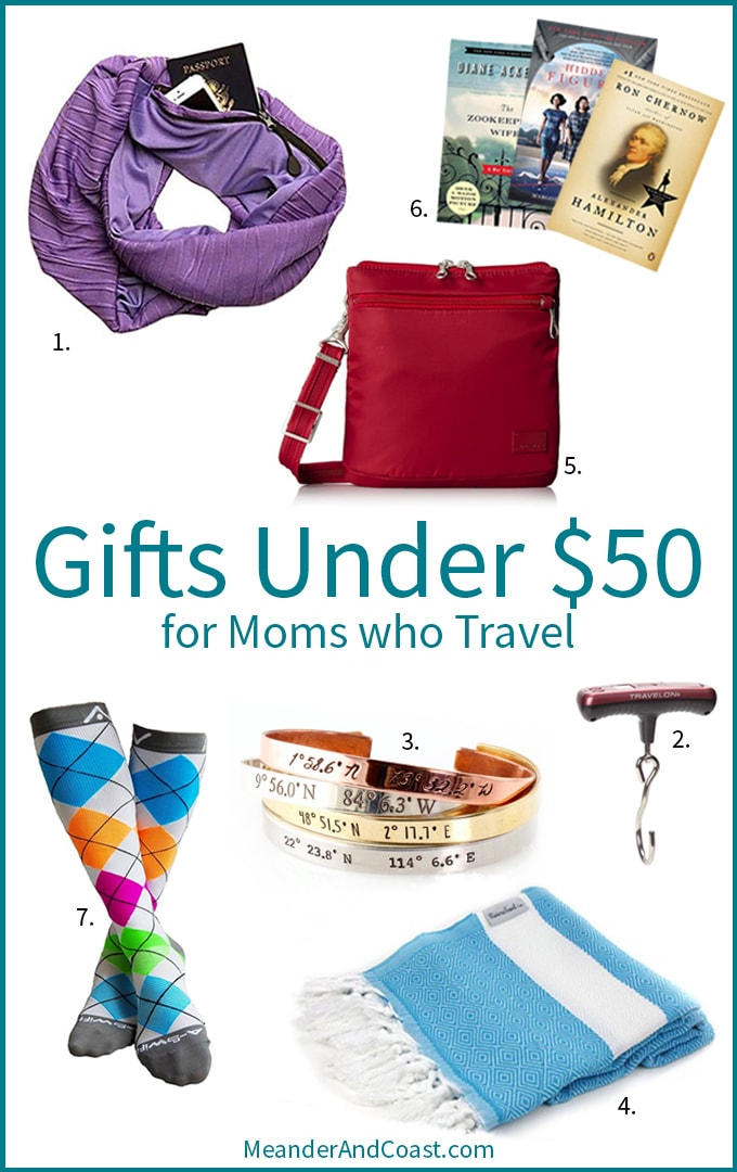 Travel gifts for moms who travel. Love these under $50 ideas for Mothers' Day! | MeanderAndCoast.com