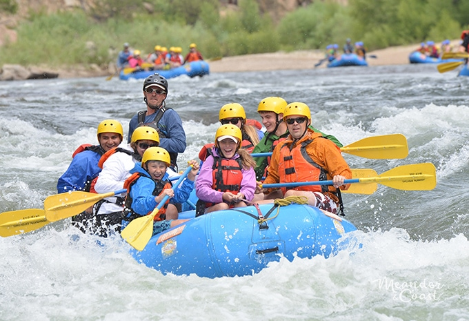 Whitewater rafting Browns Canyon, Colorado with teens. A great family adventure trip! | Meander & Coast