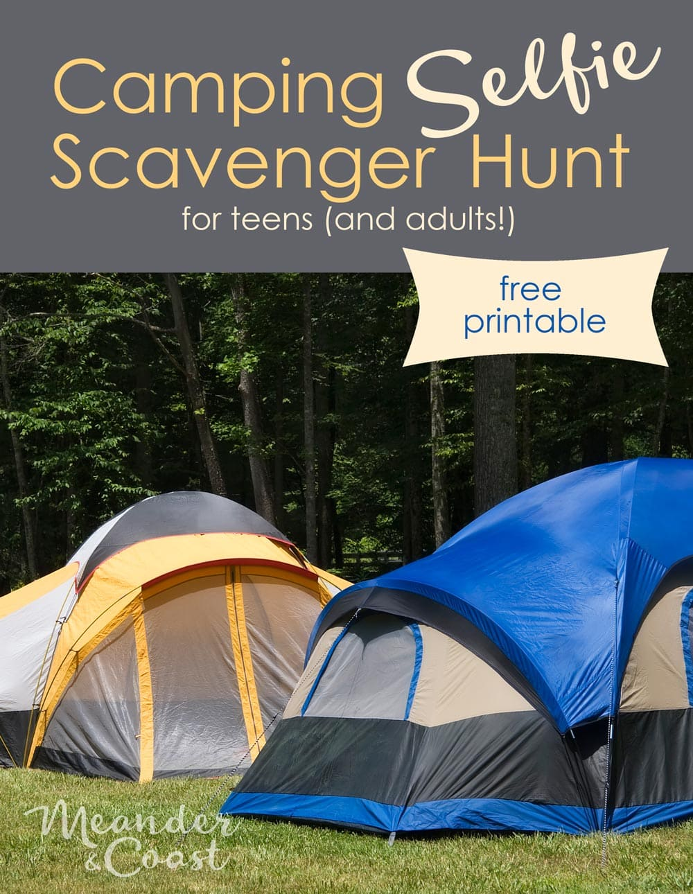 Awesome fun activity to keep teens occupied while camping! Free printable Camping Selfie Scavenger Hunt from Meander & Coast.