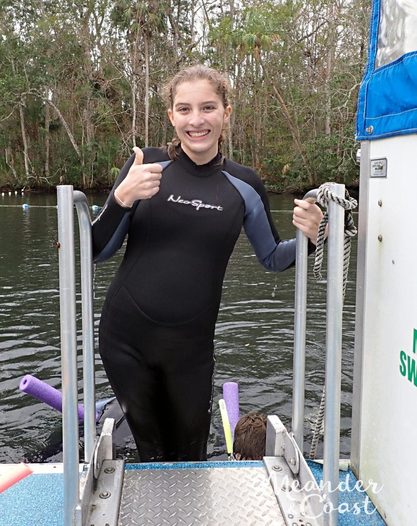 Thumbs up after swimming with manatees in Homosassa Springs, Florida near Orlando. What an amazing experience!   Learn more at MeanderAndCoast.com