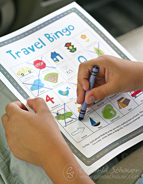 Use printable Travel Bingo to entertain younger children on road trips. Free from MeanderAndCoast.com