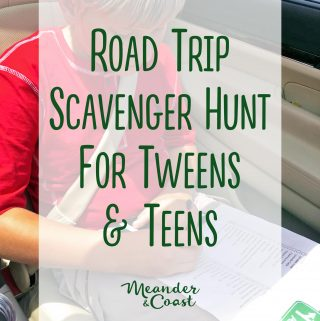 Finally! Some travel games for older kids! | Free printable Road Trip Scavenger Hunt for Tweens and Teens. Meander & Coast