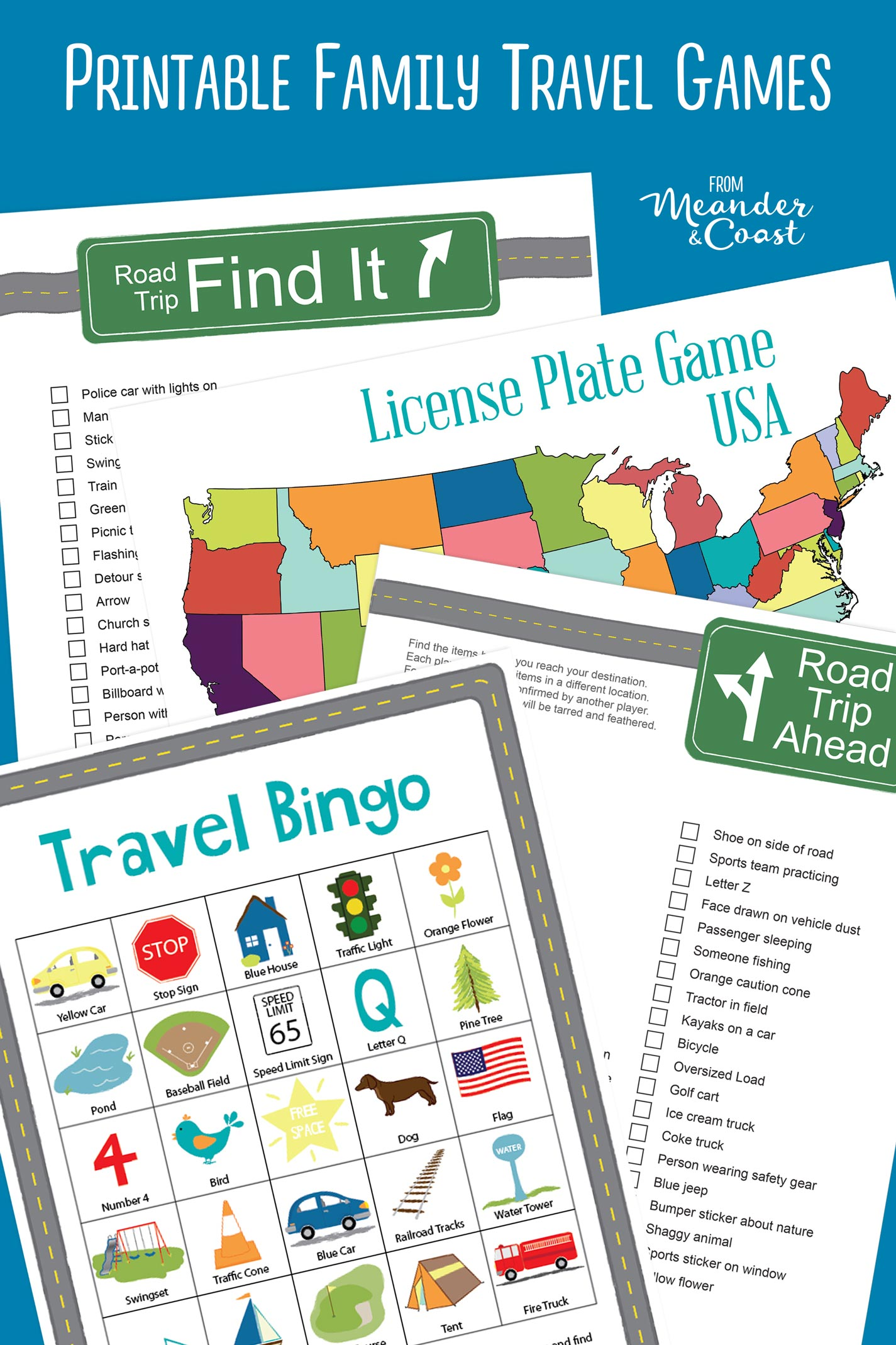 Fantastic ideas for travel games the whole family can play! | Family road trip games for teens, tweens, and kids. The best games for long car rides from Meander & Coast.
