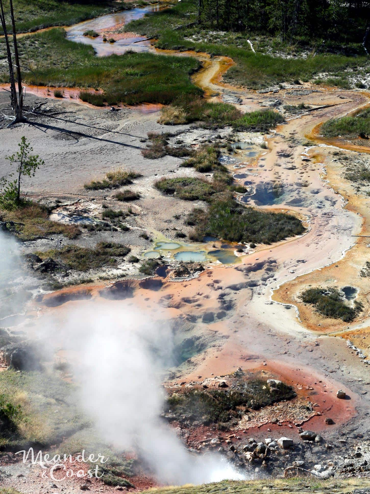 Bubbling, steaming geothermal attractions at Artist Paint Pots, Yellowstone National Park. | Best Yellowstone Attractions that aren't Old Faithful. Meander & Coast #travel #yellowstone #nationalpark #yellowstoneattractions #thingstosee #wyoming #artistpaintpots
