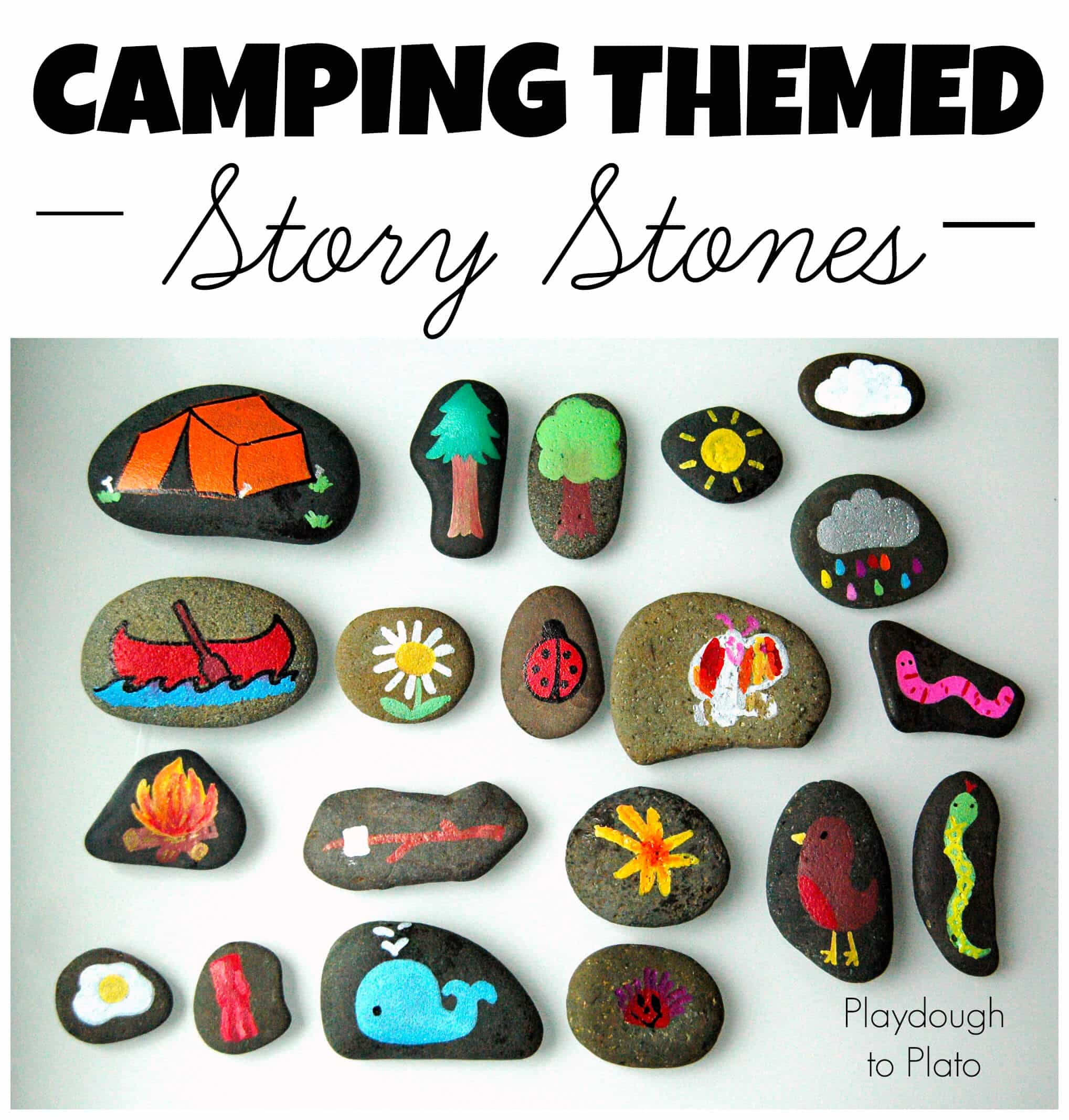 Camping themed story stones make a fun camping craft and an activity families can share around the campfire. | | Easy outdoor rock crafts to take camping. | Meander & Coast #inspirationalrocks #paintedrocks #wordart #rocksforoutdoors #rockart #outdoorcrafts #teencrafts #campcrafts #camping #rockpainting