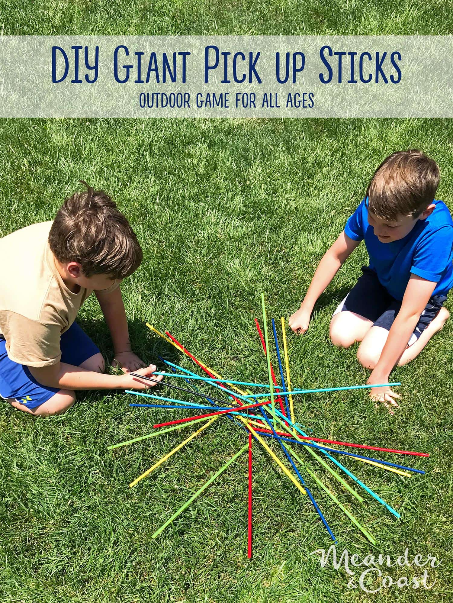 These would be perfect to take camping this summer! Make a giant outdoor game of pick up sticks. Quick and easy craft. | Meander & Coast #giantgame #pickupsticks #oversizedgame #giantyardgames #bigyardgame #campinggames
