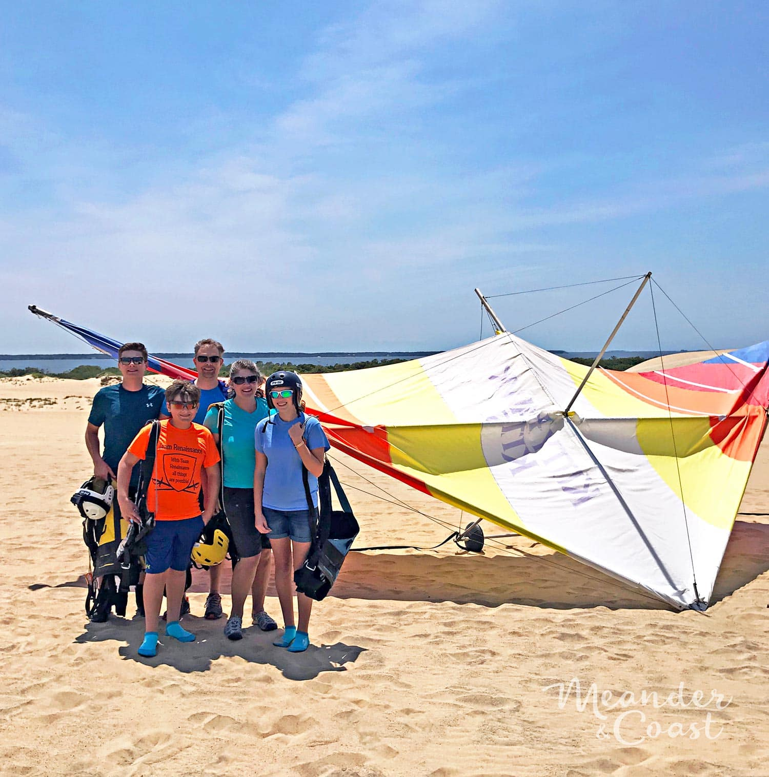 This looks like an amazing adventure! Outer Banks hang gliding lesson at Jockey's Ridge State Park, NC. | Meander & Coast #hanggliding #dunehanggliding #hangglidinglessons #flyinglessons #outerbanks #nagshead #kittyhawk #northcarolina #familyvacation #travel #adventure #teentravel #familytravel