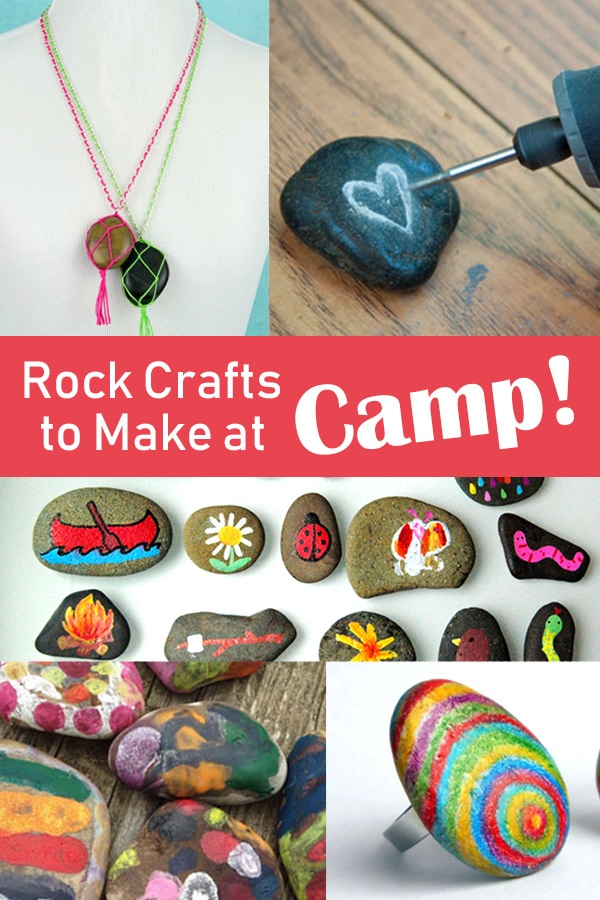 Awesome rock art ideas to make at camp!  These ideas for making decorated rocks are great to take along to make while camping. | Meander & Coast  #campingcrafts #campingcraft #rockartideas #decoratedrocks #paintedrocks #campcraft #teencrafts #tweencrafts #familycamping #outdoorcrafts #campingactivities