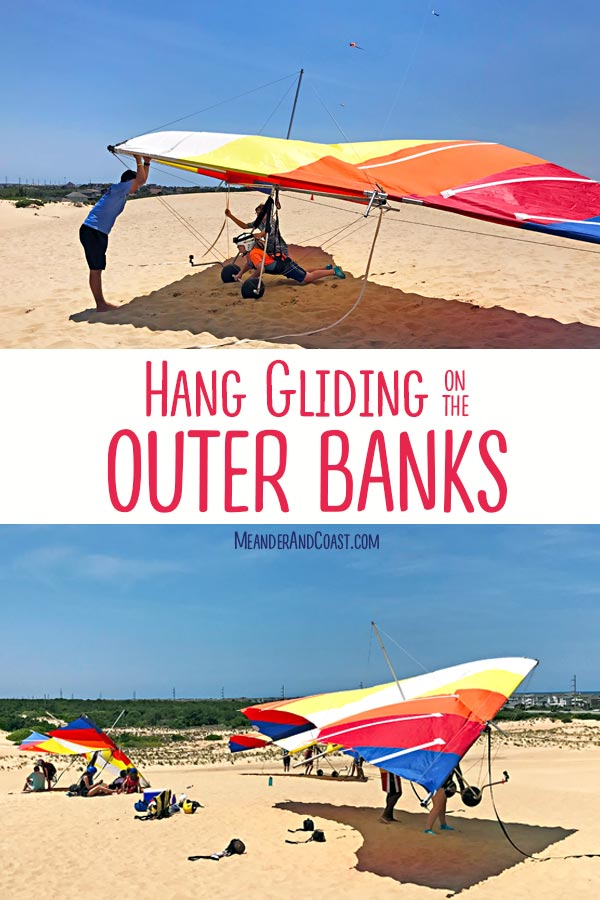 This sounds amazing! Take a dune hang gliding lesson in the Outer Banks. It's an adventure the whole family will love. | Meander & Coast #familytravel #familyvacation #hanggliding #hangglidinglesson #adventure #outerbanks #beachvacation #familyadventure #kittyhawk #nagshead #jockeysridge #dunes
